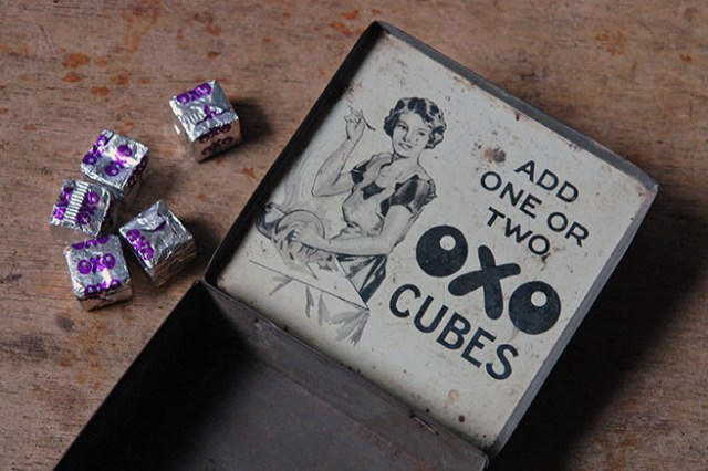 Vintage Oxo cubes tin with lid open | H is for Home