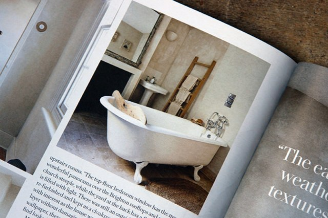 Bathroom with roll top bath from the 'Less is More' article in the May 2016 edition of Country Living magazine