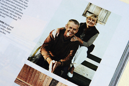 page from the 'Artistic Idyll' feature showing the home owners from the launch issue of Elle Decoration Country