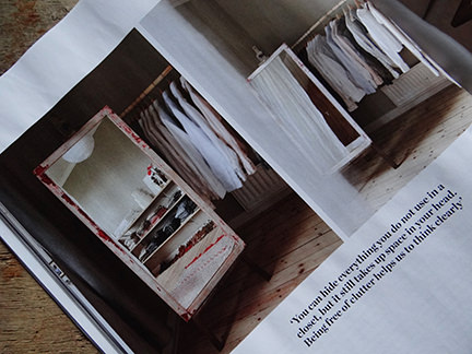 Clothes on a hanging rail in 'Simply Beautiful' article from the February 2014 edition of Elle Decoration magazine