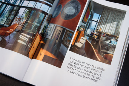 page showing the master bedroom in Ian Sipmson's apartment in Manchester's Beetham Tower featured in the Elle Decoration September 2013 magazine