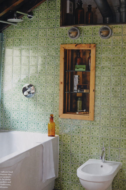 page from the October 2013 issue of Homes & Antiques magazine showing a green tiled bathroom