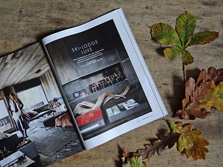 'Ski-lodge Luxe' feature from the December 2014 edition of Elle Decoration Magazine