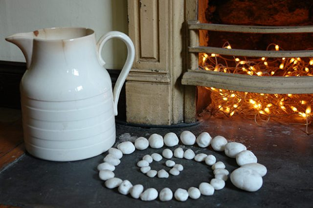 Fairy lights inside a fireplace | H is for Home
