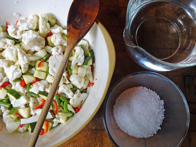 Chopped vegetables, sea salt and water | H is for Home