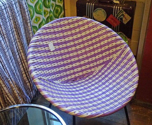 Purple & white vintage dandycord chair | H is for Home