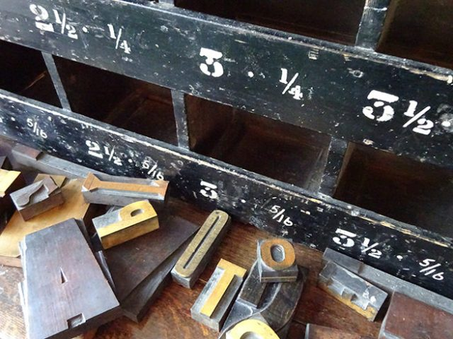 Collection of vintage printers block letters