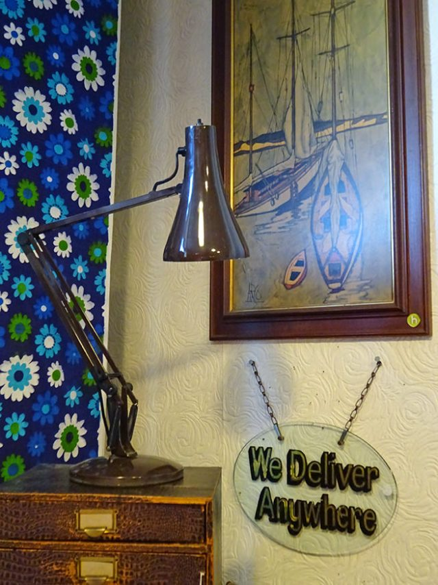 Vintage 'We Deliver Anywhere' glass shop sign | H is for Home