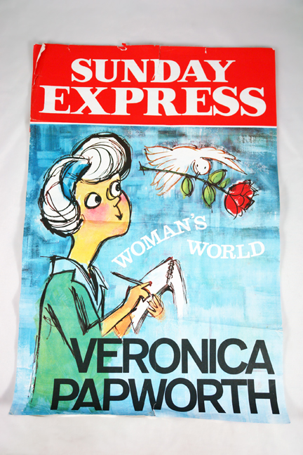vintage Sunday Express news stand poster advertising staff writer & illustrator, Veronica Papworth