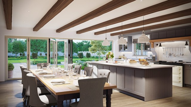 open plan kitchen diner with folding doors out to the garden