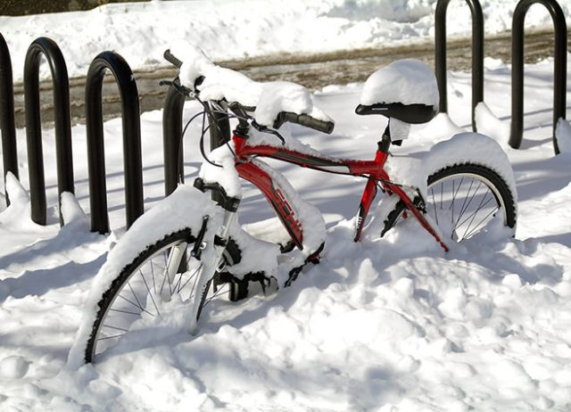 Snow covered bike
