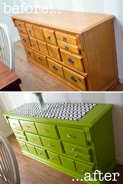 Before & after painted chest of drawers
