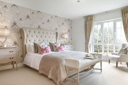 Bedroom with cream colour scheme