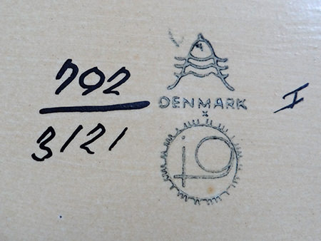 stamp on the base of a  Royal Copenhagen vase designed by Johanne Gerber