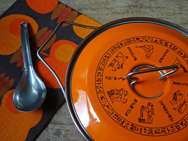 Vintage orange Siltal saucepan from above | H is for Home
