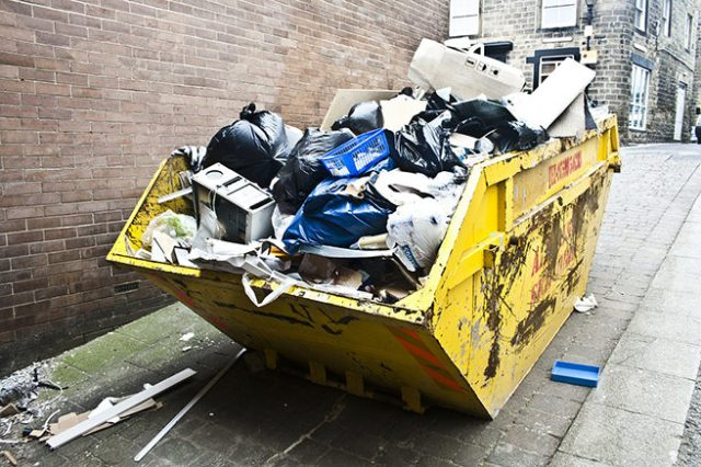 Skip full of domestic waste