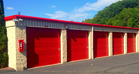 Purpose-built storage units with red doors