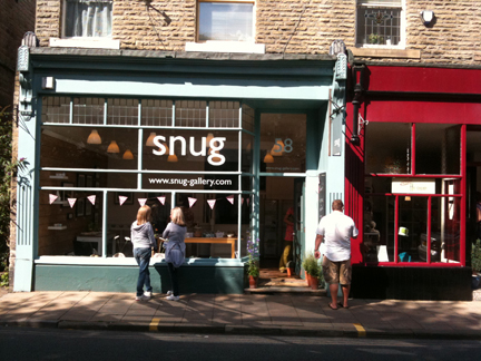 view of the shopfront of Snug Gallery in Hebden Bridge