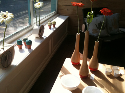 window sill in Snug Gallery, Hebden Bridge showing various art & craft items available for sale