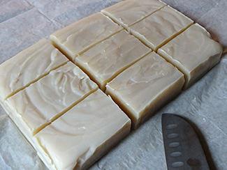Sliced slab of home-made vanilla soap | H is for Home