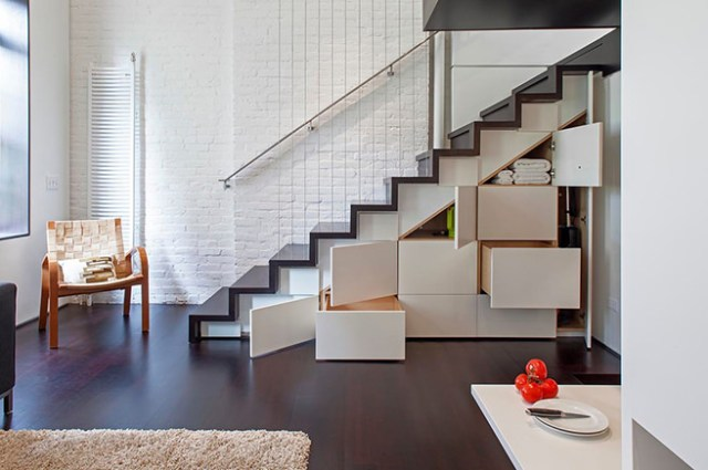 Storage cupboards & drawers incorporated into a staircase