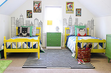 kids' superhero-inspired twin bedroom