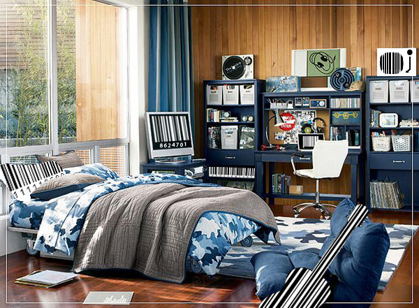 Teenage boy's blue camouflage decorated bedroom