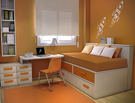 Teenager's bedroom with an orange colour scheme