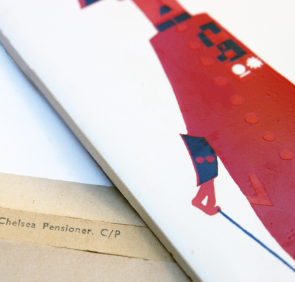"detail of vintage ""Chelsea Pensioners"" ceramic tile designed by Kenneth Townsend showing original packaging"