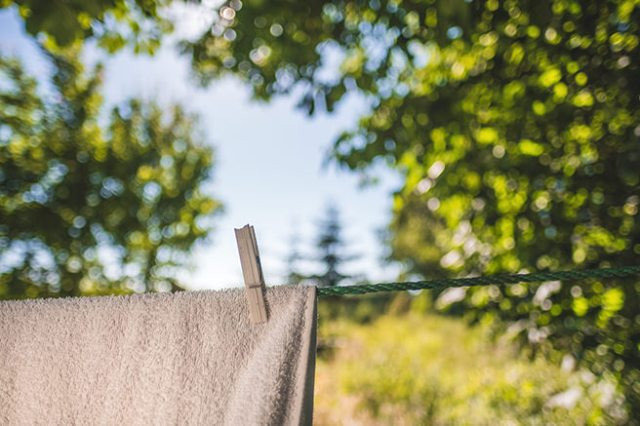 Drying a towel on a washing line