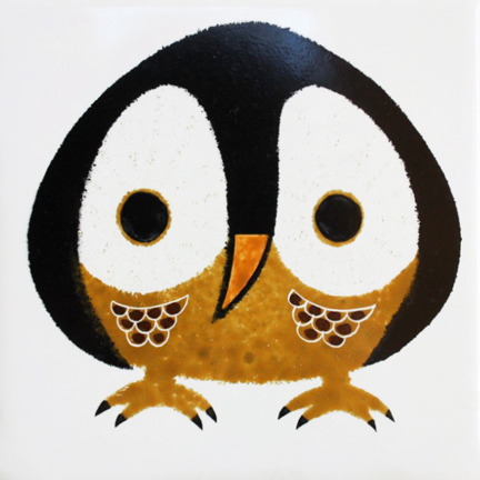 vintage Kenneth Townsend pottery owl tile
