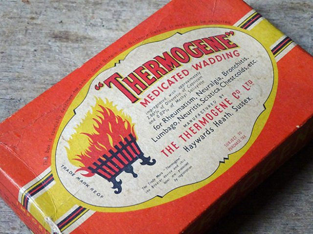 Vintage Thermogene medicated wadding cardboard box | H is for Home
