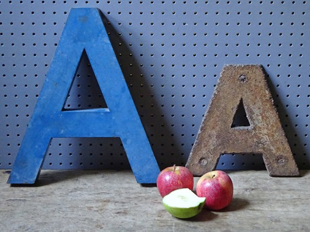 Two vintage industrial letter 'A's with apples to show scale | H is for Home