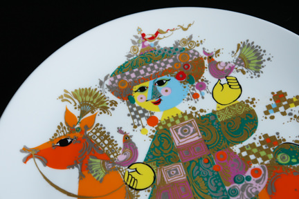 detail from a '1001 Nights' porcelain charger designed by Bjørn Wiinblad for his Rosenthal Studio Line