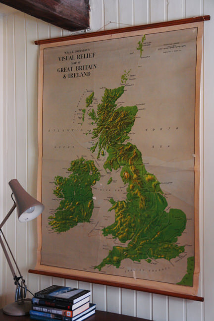 large vintage school wall map of Great Britain & Ireland