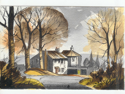 """small watercolour painting entitled """"Houses at Mitton, Ribble Valley"""" by J A Hurley"""