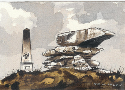 """small watercolour painting entitled, """"Pots & Pans, War Memorial, Saddleworth Moors"""" by J A Hurley"""