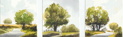 triptych of small watercolours by J A Hurley depicting trees