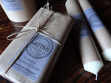 Watts & Co church candles and packaging