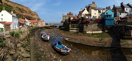 Staithes Harbour looking out to sea