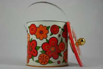 vintage 'flower power' biscuit tin