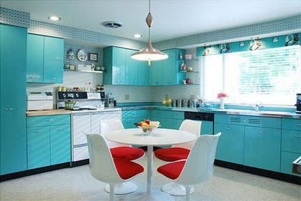 vintage electric blue 1960s Geneva metal kitchen cabinets