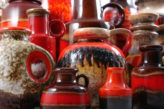 collection of vintage fat lava vases