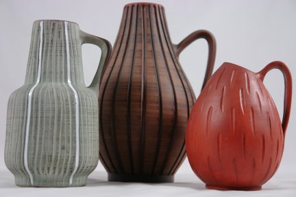Trio of 1950s West German vases