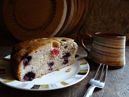 Banana, blueberry & cranberry buttermilk cake