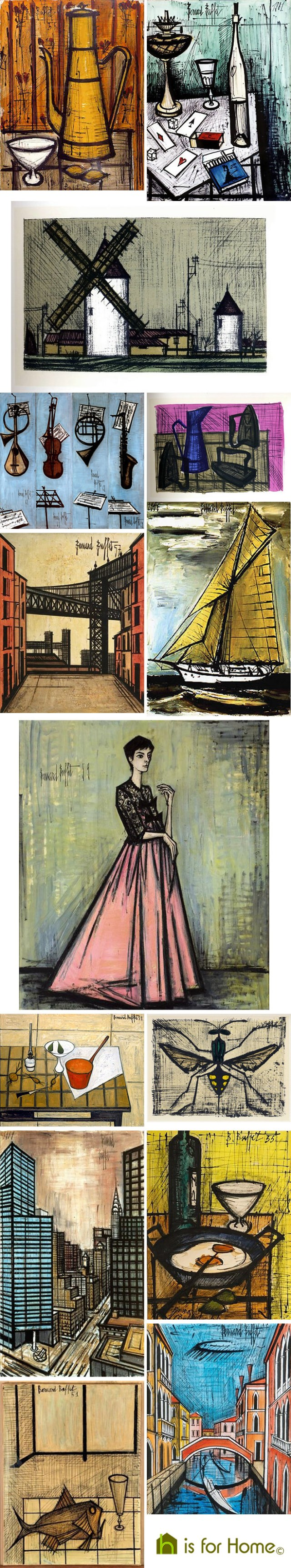 Mosaic of Bernard Buffet artwork | H is for Home