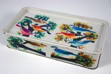 Vintage tin decorated with colourful birds | H is for Home