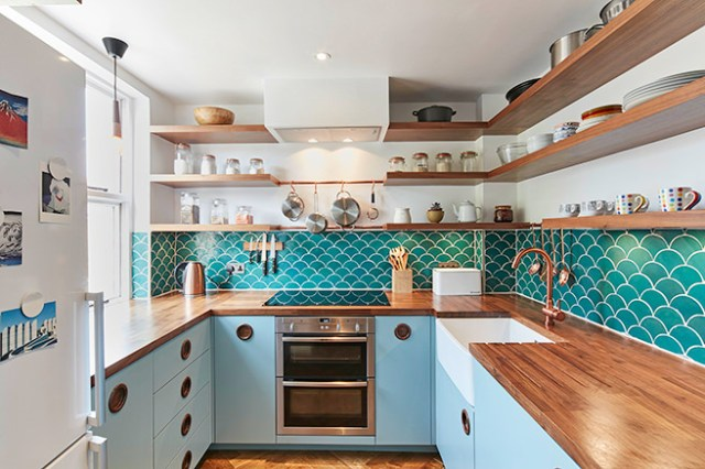Blue & copper kitchen