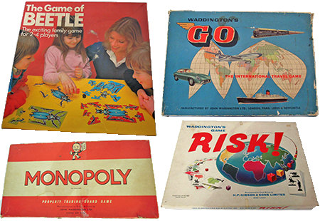 collection of vintage board games