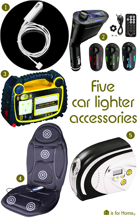 Selection of car lighter accessories via H is for Home